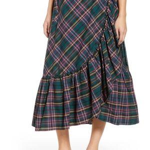 Green Plaid Ruffle Wrap Skirt, Size 4